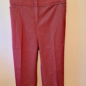 Caslon, Red & White Pinstriped Cropped Pants